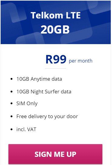 Telkom LTE 20GB Package