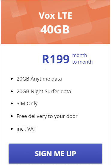 Vox LTE 40GB Package